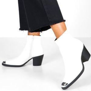 White Metal Toe Block Heel Western Boots   boohoo